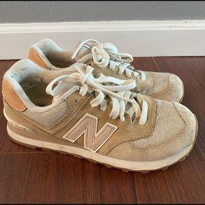 New Balance 574 in tan and blush pink